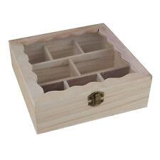 Teebeutelbox Holz natur mit 8 Fächern 20x20cm Sichtdeckel dekorative Teebox
