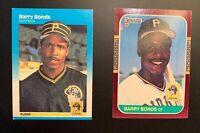 1987 Barry Bonds Rookie Card Lot Fleer #604 & Donruss #163 Pittsburgh Pirates