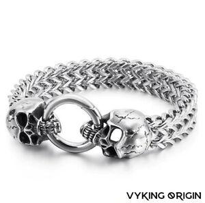 Men's Stainless Steel Viking Skull Heavy Weighted Mesh Chain Punk Bracelet