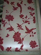 1 X Farleigh Cranberry Wallpaper Bird Butterfly
