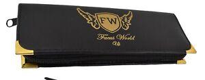 Hairdressing scissor case pouch Black leather look with velvet inside