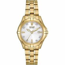 Citizen Eco-Drive Women's EW1932-54A Diamond Markers Yellow Gold 29mm Watch