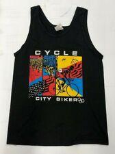 Vintage Tank Top- Cycle City Biker M Screen Stars NOS black bike
