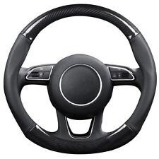 Carbon Fiber Leather Steering Wheel Cover for Car SUV Odorless 15 inch
