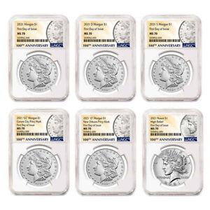 Presale - 2021 $1 Morgan and Peace Silver Dollar 6pc Set NGC MS70 FDI 100th Anni