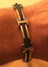 """Zoppini Biker Link Bracelet Steel & Black Rubber Chain 9"""" RETIRED Firenze"""