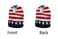 "8"" U.S.A. USA Stars and Stripes Red White Blue Snow Cap Beanie Skull Cap Hat"