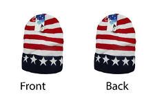 "8"" U.S.A. USA Stars and Stripes Red White Blue Snow Cap Beanie Skull Cap"