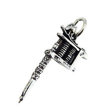 925 Sterling Silver Tattoo Machine Pendant Solid 925 3D 1 inch Big
