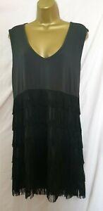 Grace Size 22 (18/20/22?) Black Fringed Charlston Gatsby Dress (4074)