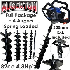 AUGERTON 82cc PETROL POST HOLE DIGGER EARTH AUGER ONE MAN POSTHOLE DRILL BORER