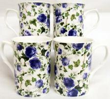 Ivy Rose Blue Mugs Set 4 Fine Bone China Blue Roses Mugs Hand Decorated in UK