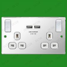 2 Toma acero pulido, blanco, 2.1a USB Puertos Conmutador 13a Doble Enchufe GB