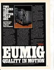 Eumig Sound 910  Super 8 Movie Projector 1978 Vtg Magazine Ad Print