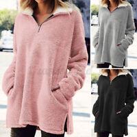 UK Womens Zip Neck Teddy Bear Fleece Sweater Jumper Winter Warm Coat Jacket Tops