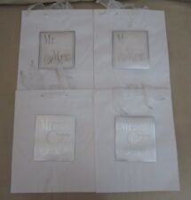 Lot of 4 Mr. & Mrs. Hallmark Expressions Gift Bags Wedding Anniversary 3D White
