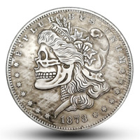 Retro Zombie Skull Skeleton Face Nickel Morgan One Dollar Stamp HOBO Carved COIN