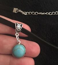 Turquoise Stone Cameo Choker Necklace Pendant Chain Silver Native American Love