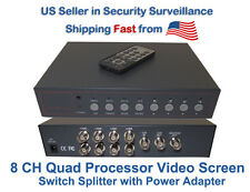 8 Channel 8 Ch Analog Quad Processor Video Screen Switch Cctv Splitter w/Adapter