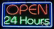 """BRAND NEW """"OPEN 24 HOURS"""" 37x20x3 BORDER REAL NEON SIGN w/CUSTOM OPTIONS 10416"""