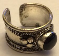 Tibet Design Metal Band Ring w Black Onyx. From the Himalayas Free Ship in USA