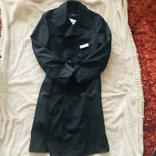Authentic DSCP Military Black Trench Coat, Double Breasted, Size 38R
