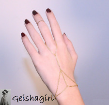 Gold Colour Chain Link Finger Ring Slave Triangle Hand Harness Bracelet Bangle