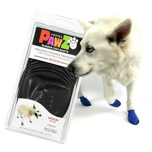 NEW Black Rubber Dog Boots, Medium 12-Pack, Reusable Waterproof by PawZ