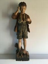 """Terre cuite de Goldscheider """"l'enfant à la cruche cassée"""" XIXè 76 cm de haut."""
