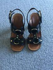 Celine Black Block Heel Sandals Sz IT 38