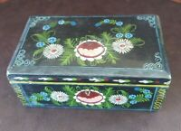 Vintage  Mexican Hand Painted Wood Box Jewelry Folk Art 6.5 x 2.5 x4 inches