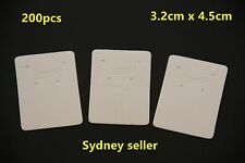 200pcs White Earring Pendant Jewellery Display Cards 3.2cmx4.5cm Cardboard Bulk