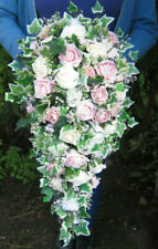 Brides Shower Teardrop Bouquet Posy Wedding Flowers Vintage Pink, cream & Ivory