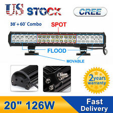 20 INCH 126W CREE LED Light Bar Flood Double-Row Spot Work Driving Offroad ATV