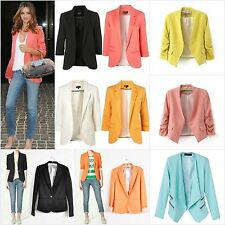 Lady Womens Fashion Soild Candy Colors Slim Fit Suit Jacket Blazer Coat Tops Lot