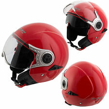 Jet Open Face Inner Sun Visor Helmet Motorcycle Scooter Motorbike Red L