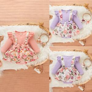 Newborn Baby Girls Clothes Romper Floral Headband Bodysuit  Jumpsuit Outfits Set