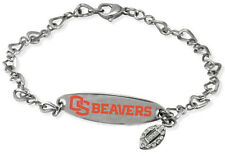 OREGON STATE BEAVERS OSU * Stainless Steel ID Bracelet w/CZ Dangle  NCAA Jewelry