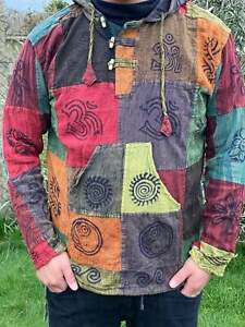 Patchwork Hippy vintage hoodie HANDMADE Nepal festival unisex plain dark design