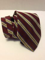 """Brooks Brothers """" Makers"""" Woven Silk Necktie Tie Burgundy, Blue, Gold Stripes"""