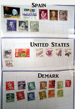 "~Stamp Collection Lot Global Variety - 7 pages (8.5 x 11"") in sheet protectors"