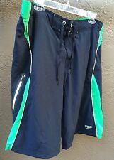Speedo Men's Sz. 36 Black Lime Stretch Boardshorts Swimsuit Spandex Zip Pocket