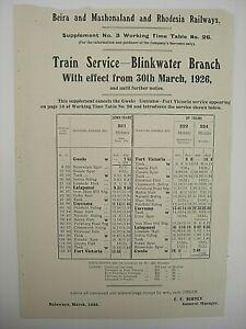 Beira & Mashonaland & Rhodesia Railways Supplement Timetable Blinkwater #3 1926