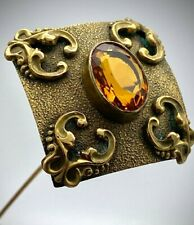 Antique Hatpin Rich Honey Faceted Center. Chic Artistic Design.Long Quality Lady