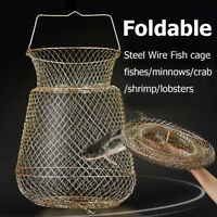 Foldable Durable Steel Wire Fishing Pot Trap Net Crab Crawdad Cage Fish Basket