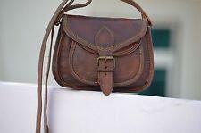 New Vintage Looking Women Brown Leather Mini Messenger Cross Body Handmade Purse
