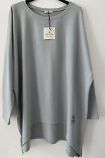 Made In Italy Lagenlook Oversized Batwing Cotton Long Top Tunic One Size 12-20