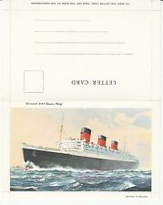 Queen Mary Cunard Ocean Liner Vintage Letter Card 1950s