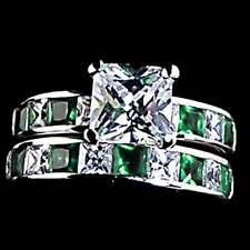 7mm_Emerald Green & Clear Cz Wedding Set Ring_Sz-5_Nf 925 Sterling Silver