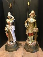 """Vintage Pair Tall Hollywood Regency Porcelain Victorian Couple Table Lamps 40"""""""